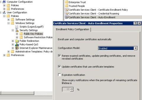 Certificate services client - auto-enrollment properties